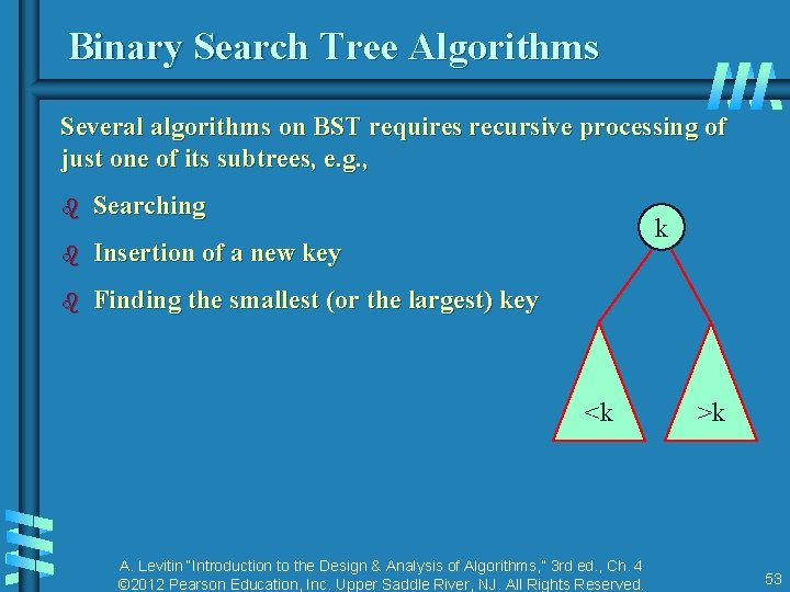 Binary Search Tree Algorithms Several algorithms on BST requires recursive processing of just one