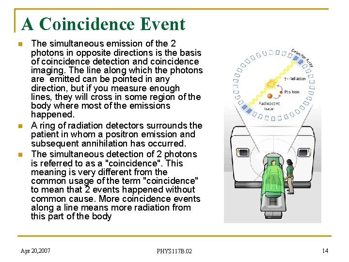 A Coincidence Event n n n The simultaneous emission of the 2 photons in
