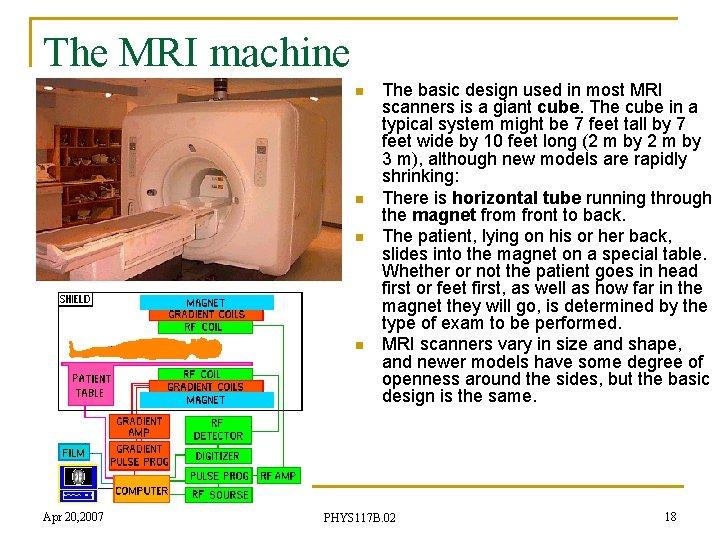 The MRI machine n n Apr 20, 2007 The basic design used in most