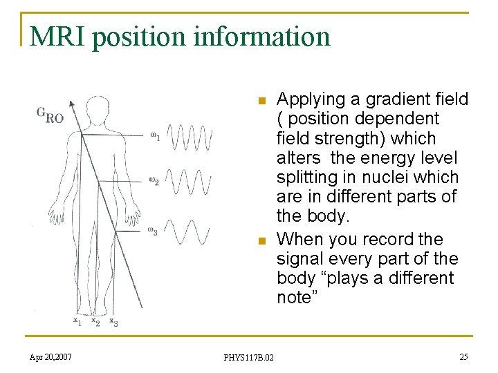 MRI position information n n Apr 20, 2007 PHYS 117 B. 02 Applying a
