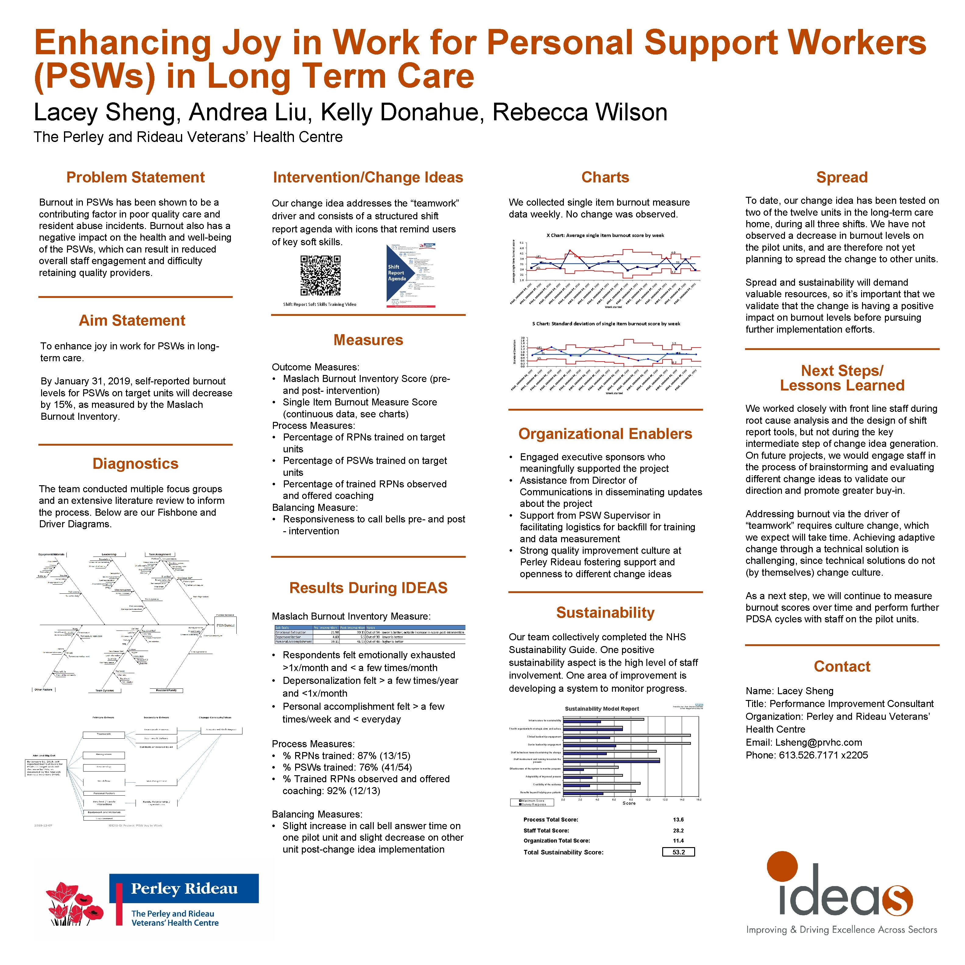 Enhancing Joy in Work for Personal Support Workers (PSWs) in Long Term Care Lacey