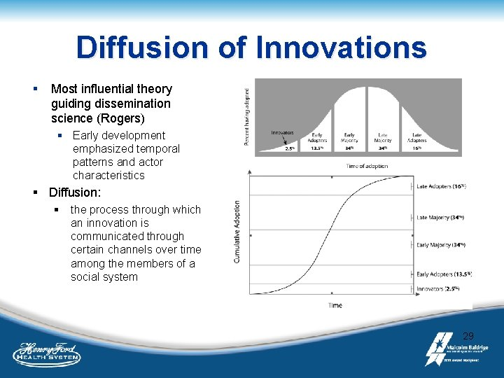 Diffusion of Innovations § Most influential theory guiding dissemination science (Rogers) § Early development