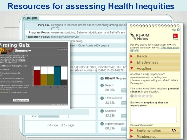 Resources for assessing Health Inequities 39
