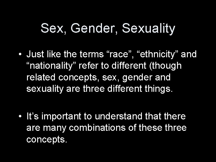 Difference between sex gender and sexuality
