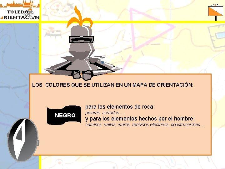 LOS COLORES QUE SE UTILIZAN EN UN MAPA DE ORIENTACIÓN: para los elementos de