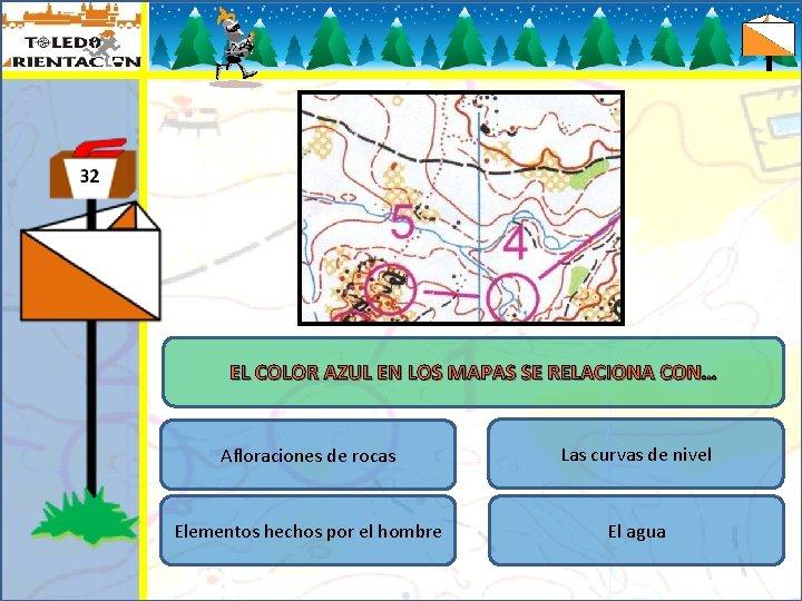 EL COLOR AZUL EN LOS MAPAS SE RELACIONA CON… Afloraciones de rocas Las curvas
