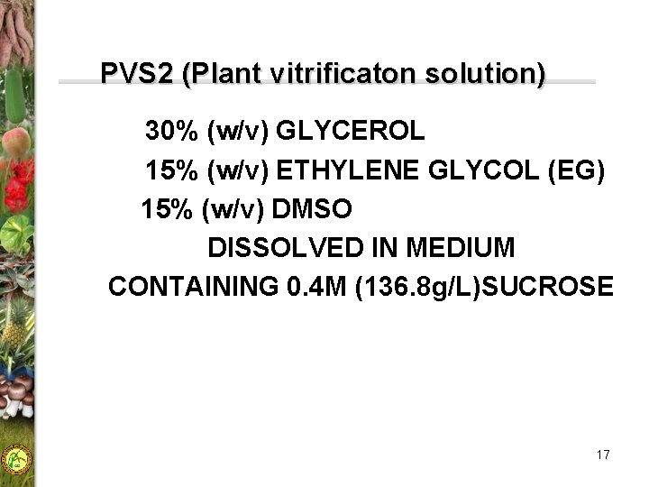 PVS 2 (Plant vitrificaton solution) 30% (w/v) GLYCEROL 15% (w/v) ETHYLENE GLYCOL (EG) 15%