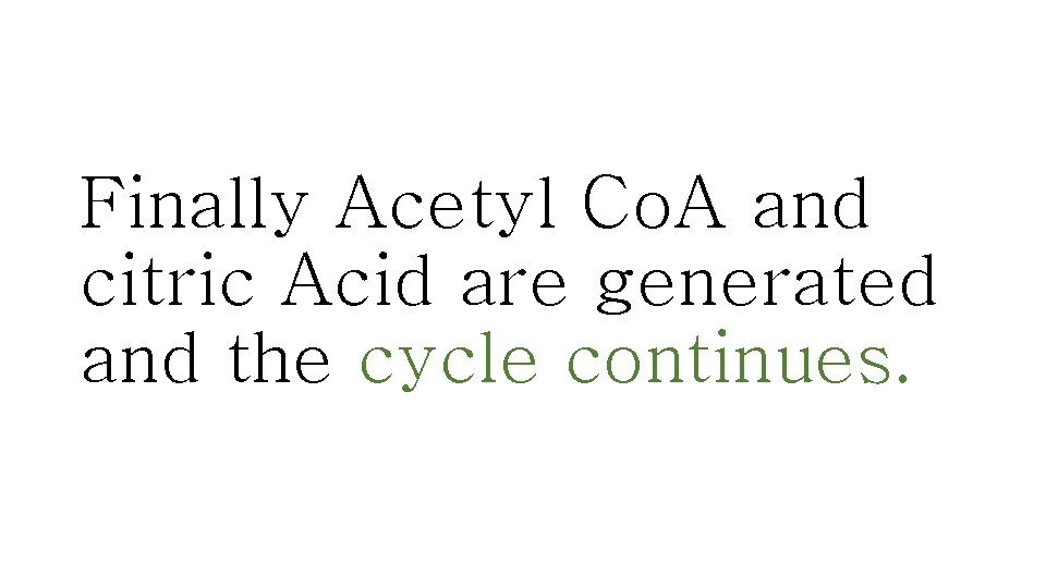 Finally Acetyl Co. A and citric Acid are generated and the cycle continues.