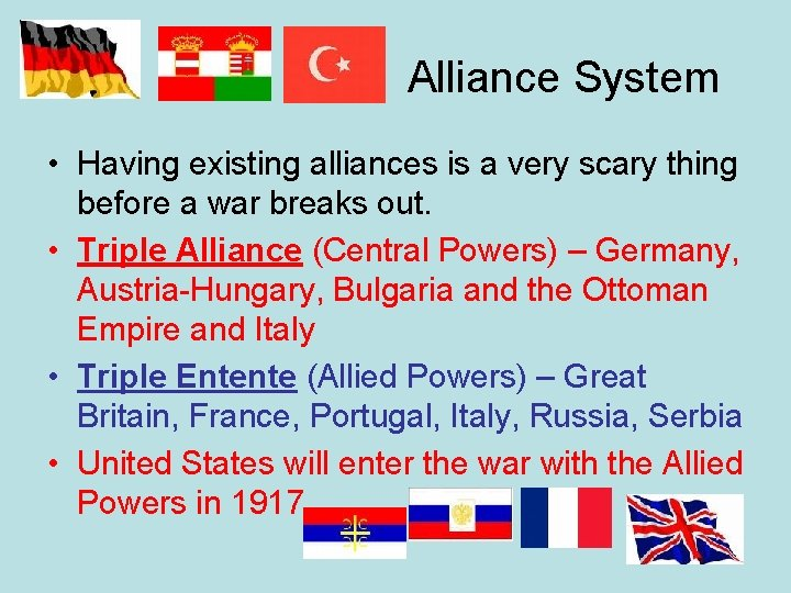 Alliance System • Having existing alliances is a very scary thing before a war