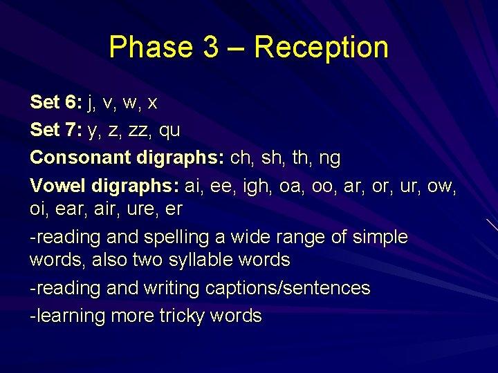 Phase 3 – Reception Set 6: j, v, w, x Set 7: y, z,
