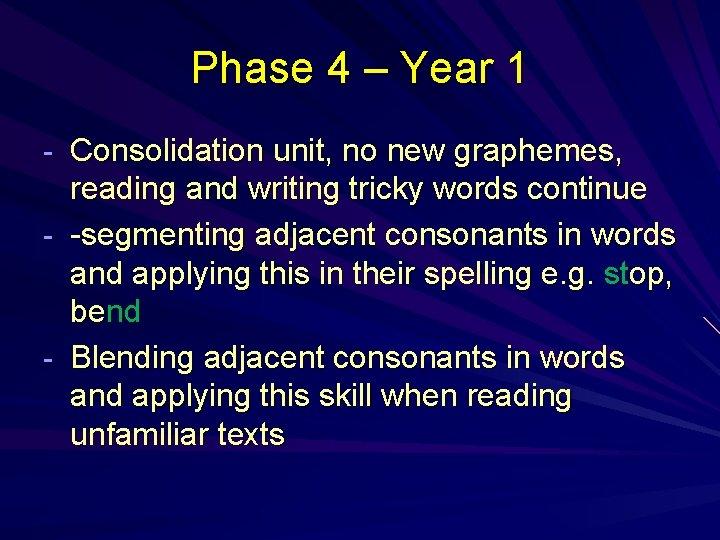 Phase 4 – Year 1 - Consolidation unit, no new graphemes, reading and writing