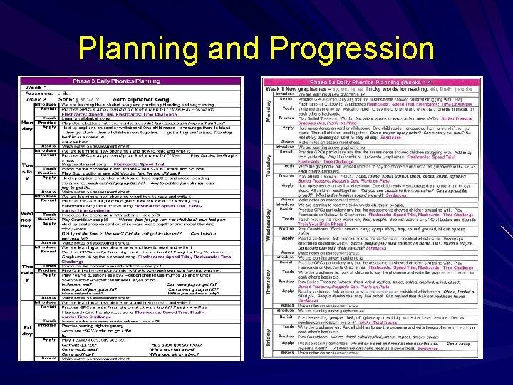 Planning and Progression
