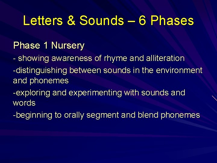 Letters & Sounds – 6 Phases Phase 1 Nursery - showing awareness of rhyme