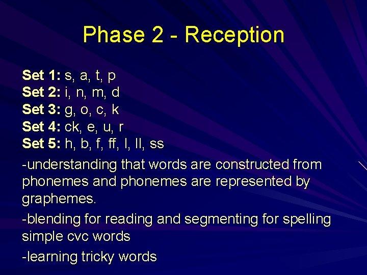 Phase 2 - Reception Set 1: s, a, t, p Set 2: i, n,