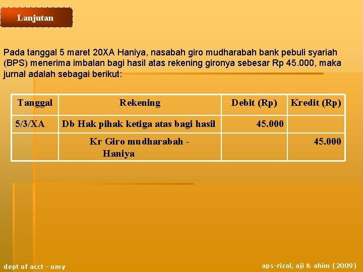 Lanjutan Pada tanggal 5 maret 20 XA Haniya, nasabah giro mudharabah bank pebuli syariah