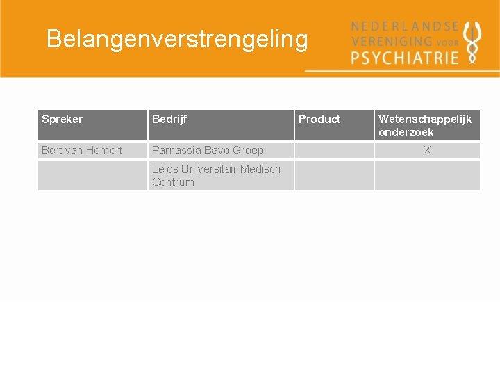 Belangenverstrengeling Spreker Bedrijf Bert van Hemert Parnassia Bavo Groep Leids Universitair Medisch Centrum Product