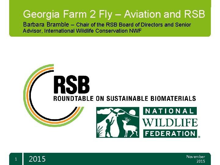 Georgia Farm 2 Fly – Aviation and RSB Barbara Bramble – Chair of the