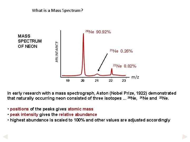 What is a Mass Spectrum? 20 Ne MASS SPECTRUM OF NEON 90. 92% 21