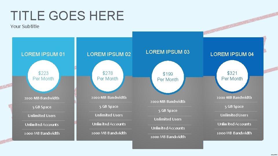 TITLE GOES HERE Your Subtitle LOREM IPSUM 01 LOREM IPSUM 02 $223 Per Month