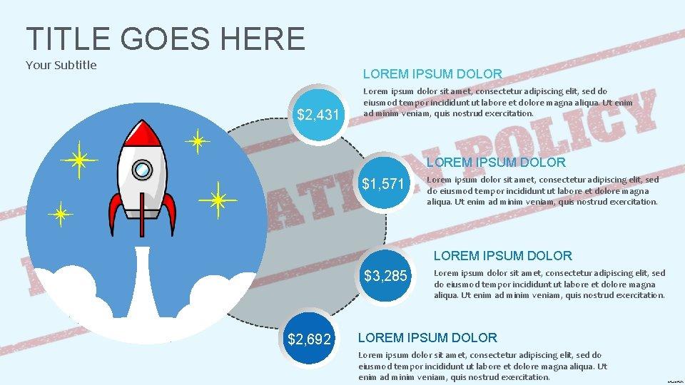 TITLE GOES HERE Your Subtitle LOREM IPSUM DOLOR $2, 431 Lorem ipsum dolor sit