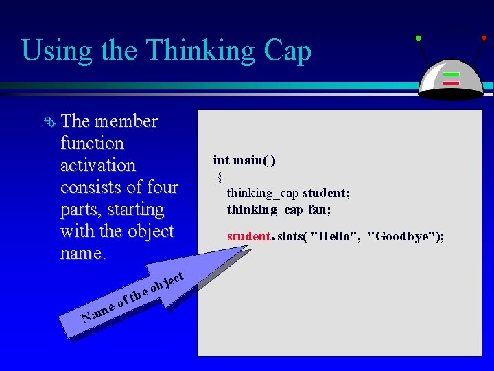 Using the Thinking Cap The member function activation consists of four parts, starting with