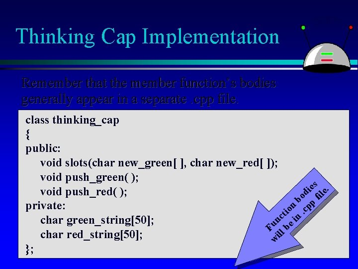 Thinking Cap Implementation Remember that the member function's bodies generally appear in a separate.