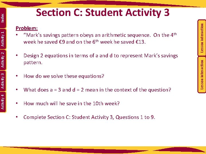 • What does a = 3 and d = 2 mean in the