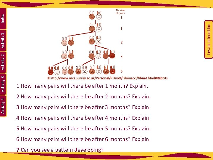 Lesson interaction Index Activity 1 Activity 2 Activity 3 Activity 4 1 How many