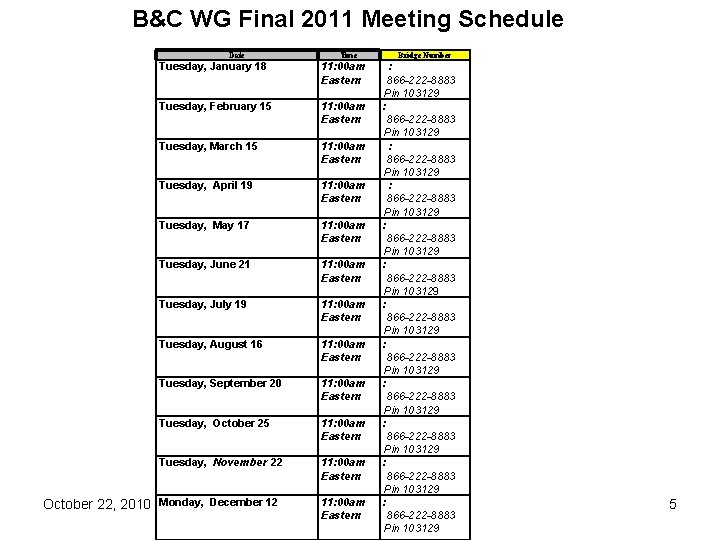 B&C WG Final 2011 Meeting Schedule Date October 22, 2010 Time Tuesday, January 18
