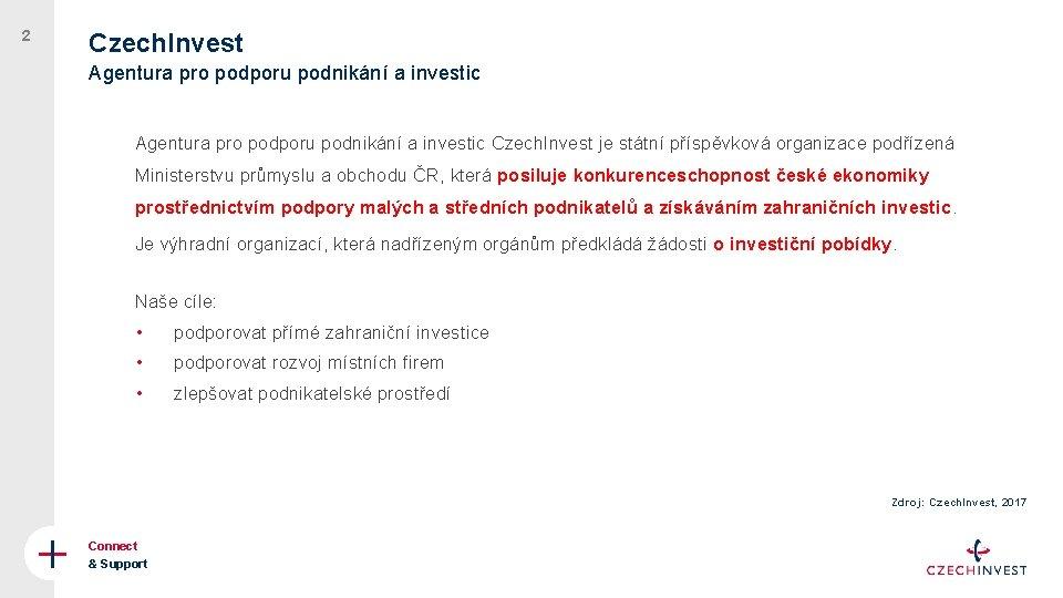 2 Czech. Invest Agentura pro podporu podnikání a investic Czech. Invest je státní příspěvková