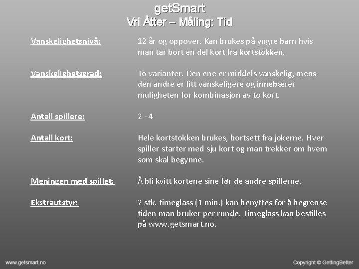 get. Smart Vri Åtter – Måling: Tid Vanskelighetsnivå: 12 år og oppover. Kan brukes