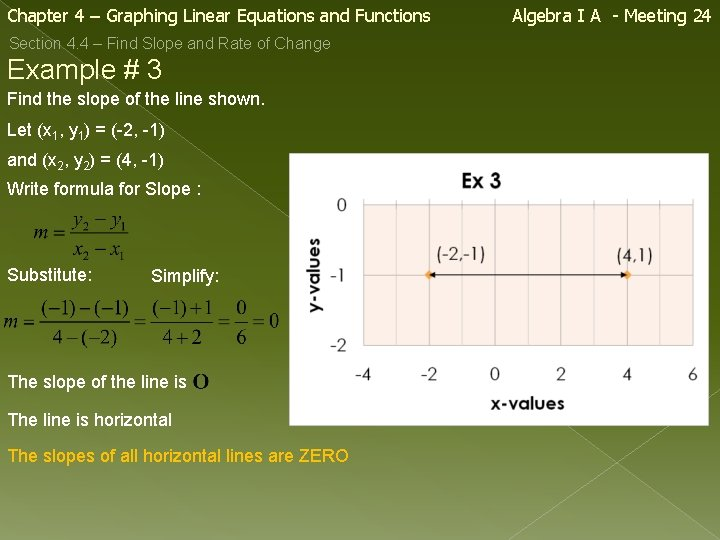Chapter 4 – Graphing Linear Equations and Functions Section 4. 4 – Find Slope