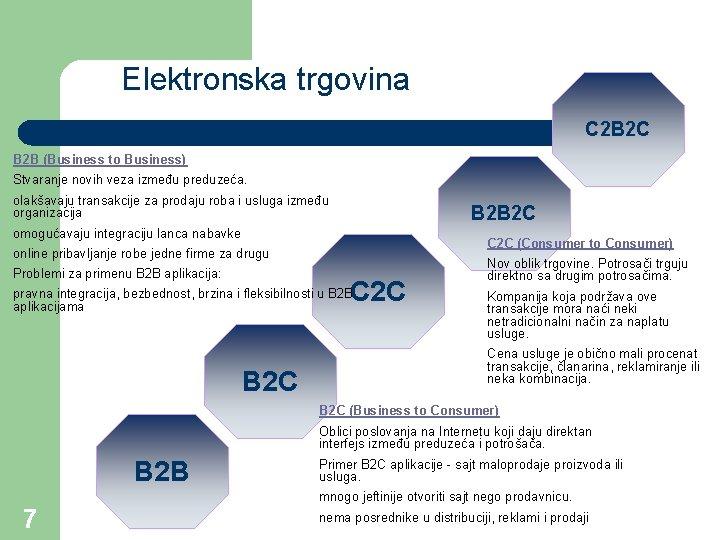 Elektronska trgovina C 2 B 2 C B 2 B (Business to Business) Stvaranje