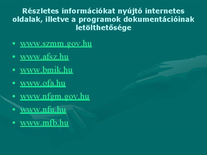 Részletes információkat nyújtó internetes oldalak, illetve a programok dokumentációinak letölthetősége • • www. szmm.
