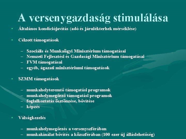 A versenygazdaság stimulálása • Általános kondíciójavítás (adó és járulékterhek mérséklése) • Célzott támogatások –