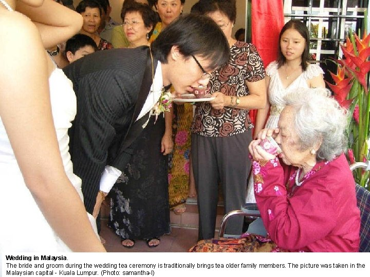 Wedding in Malaysia. The bride and groom during the wedding tea ceremony is traditionally