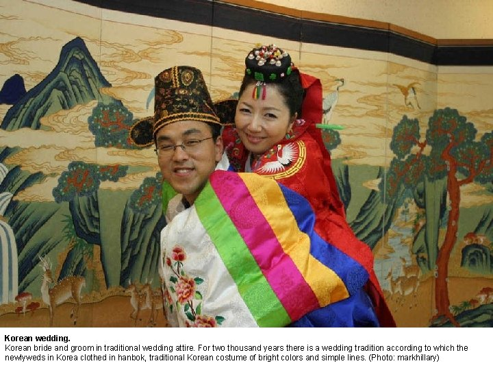 Korean wedding. Korean bride and groom in traditional wedding attire. For two thousand years