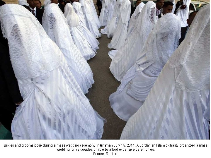 Brides and grooms pose during a mass wedding ceremony in Amman July 15, 2011.