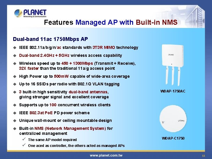 Features Managed AP with Built-in NMS Dual-band 11 ac 1750 Mbps AP u IEEE