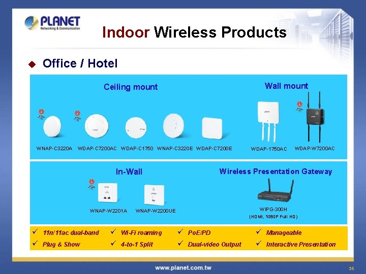 Indoor Wireless Products u Office / Hotel Wall mount Ceiling mount WNAP-C 3220 A