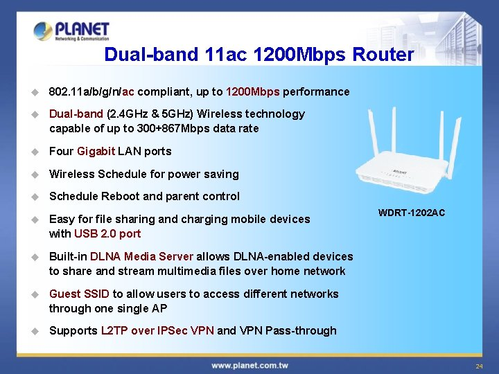 Dual-band 11 ac 1200 Mbps Router u 802. 11 a/b/g/n/ac compliant, up to 1200
