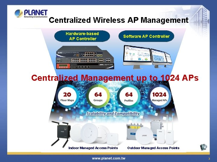 Centralized Wireless AP Management Hardware-based AP Controller Software AP Controller Centralized Management up to