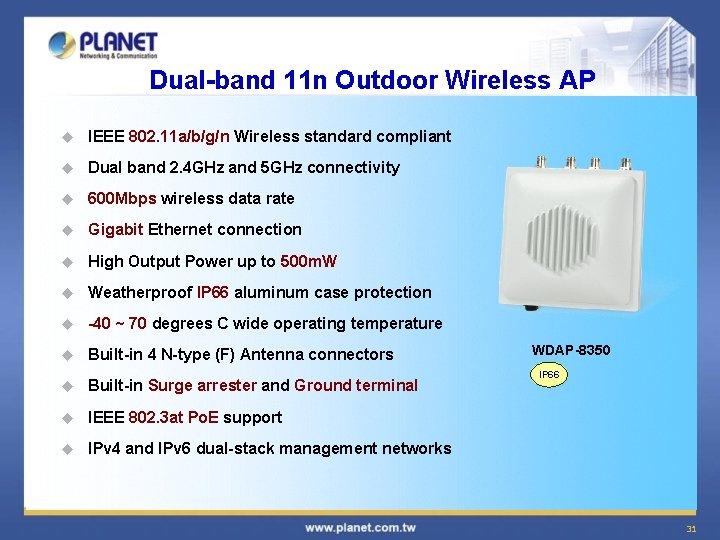 Dual-band 11 n Outdoor Wireless AP u IEEE 802. 11 a/b/g/n Wireless standard compliant