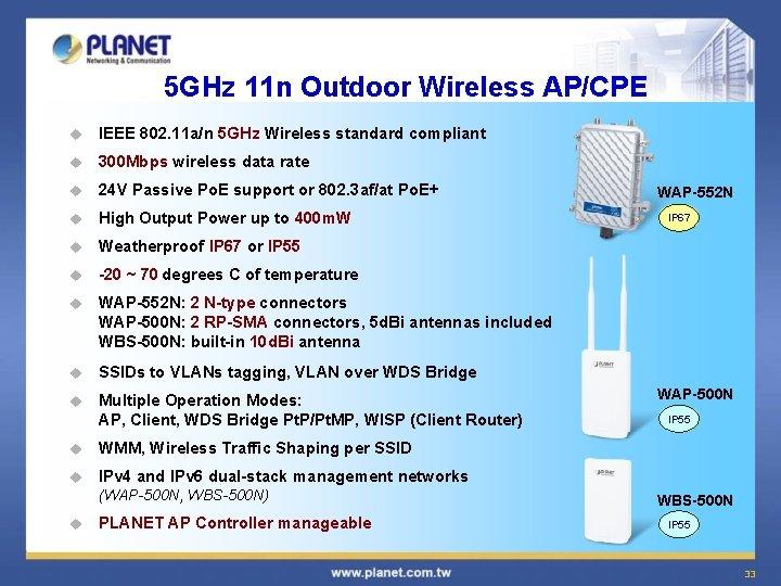 5 GHz 11 n Outdoor Wireless AP/CPE u IEEE 802. 11 a/n 5 GHz