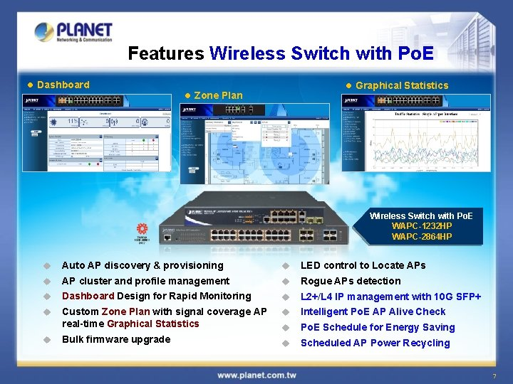 Features Wireless Switch with Po. E l Dashboard l Graphical Statistics l Zone Plan