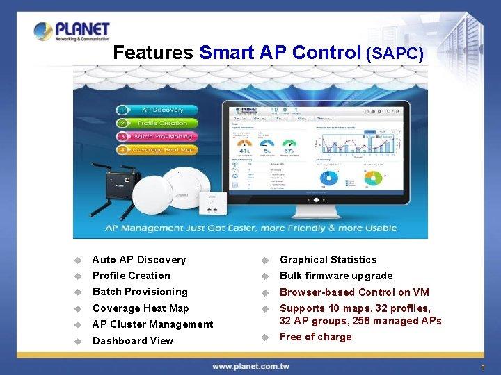 Features Smart AP Control (SAPC) u Auto AP Discovery u Graphical Statistics u Profile