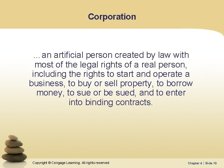 Corporation …an artificial person created by law with most of the legal rights of