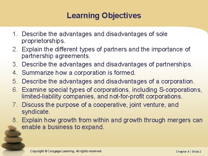 Learning Objectives 1. Describe the advantages and disadvantages of sole proprietorships. 2. Explain the