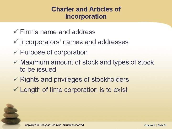 Charter and Articles of Incorporation ü Firm's name and address ü Incorporators' names and
