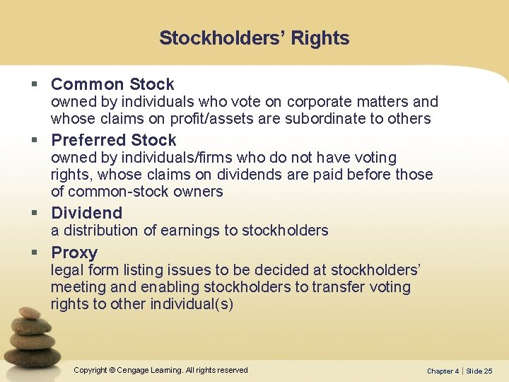 Stockholders' Rights § Common Stock owned by individuals who vote on corporate matters and